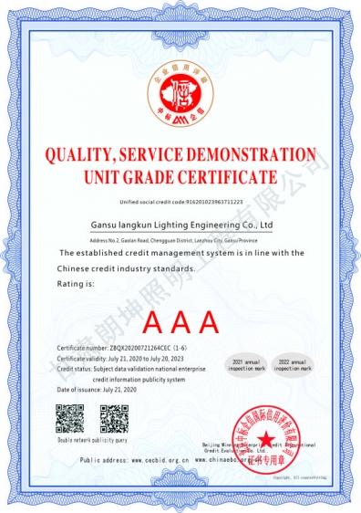 质量服务示范单位登记证书2